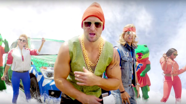 tim tebow heisnman house commercial rapping country music star