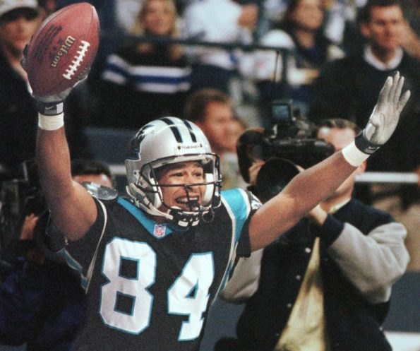 Carolina Panther wide receiver Rae Carruth celebra