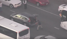 Guy Practices on His Crossover While Stuck in California Traffic (Video)