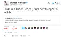 Brandon Jennings Says He Doesn't Respect D'Angelo Russell Because He's a Snitch