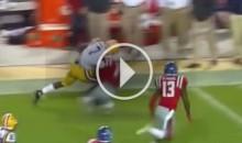 LSU RB Leonard Fournette Lowers The Boom & Destroys a Defender (Video)