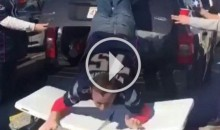 Overly Excited Patriots Fan Puts Himself Through a Table (Video)