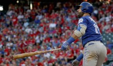 Jose Bautista Gently Places Bat on Ground After Crushing 425-Foot Bomb in Texas (Videos)