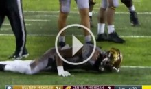 Western Michigan Player Gets Up & Collapses After Taking Brutal Hit (Video)