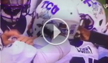 TCU Players Frantically Try To Help Teammate Being Choked By Chin Strap (Video)