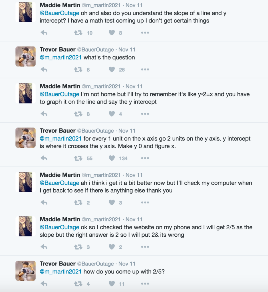trevor bauer helped a random fan her math homework over happy i could help good luck on the test t co ufelqh7i6m