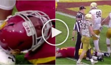 Notre Dame Player Kicked Injured USC Player In The Head, Then Stomped Another Player (Video)