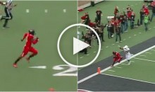 Texas Tech Defender Rips Ball Away From Texas RB, Steps Out of Bounds, But Awarded TD (Video)