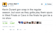 Social Media Reacts to Le'Veon Bell Saying Durant Will Choke in The Playoffs