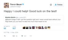 Trevor Bauer Helped A Random Fan With Her Math Homework Over Twitter