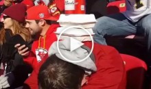 Kansas City Chiefs Fans Build Beer Tower on Wasted Guy (Video)