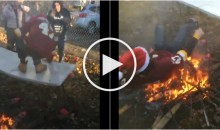 Redskins Fan Attempts to Jump Through Table; Fails & Falls Into a Fire (Video)