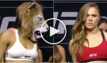 Amanda Nunes Dons Lion Mask During UFC2 07 Weigh-ins, Ronda Rousey Doesn't Budge (Video)