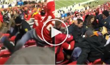 Chiefs & Raiders Fans Get Into a Massive Brawl in The Stands; Multiple People Falling Down Seats (Video)