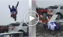 Buffalo Bills Fan Completely Destroys His Leg Trying To Jump Through Table (Video)