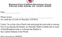 Chiefs Provide Fans With 'Get Out of Work' Letter, Open Gates Early So They Can Get Drunk For TNF