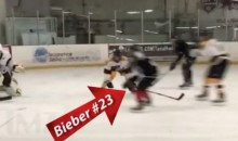 Justin Bieber Almost Fights After Taking Slash at Hockey Game (Video)