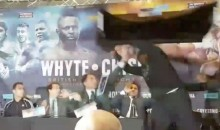 Boxer Throws a Damn Table at His Opponent During Press Conference (Video)
