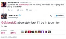 Derek Carr Extends Offer of Help to Johnny Manziel, and Manziel Accepts (Tweets)