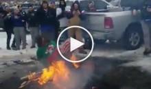 Buffalo Bills Fan Goes Ass-First Into Fire Outside Stadium (Video)
