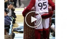 Toronto Raptors Mascot Drops TV While Delivering Prize To Fan (Video)