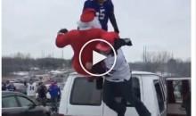 Buffalo Bills Fans Chokeslam Santa Claus Through a Table (Video)