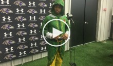Ravens WR Steve Smith Wore an Elf Costume to Speak to The Media (Video)