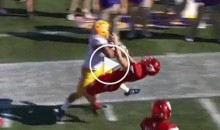 LSU RB Derrius Guice Absolutely Demolishes Louisville's Kicker During A Return (Video)