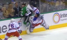 Rangers Goalie Henrik Lunqvist Gets DESTROYED by Savage Hit from Cody Eakin (Video)
