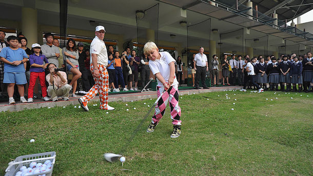 John Daly and son John Daly II at the 2011 UBS Hong Kong Open Pro-Am. (Image via Getty)