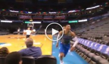 """Russell Westbrook Yells """"Thank You Kyrie"""" While Running Off Court After Pregame Shot (Video)"""