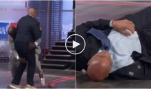 After Catching Pass From Randy Moss, Charles Barkley Gets Drilled By Shaq (Video)