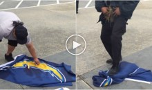 Upset Chargers Fan Sets Team Flag on Fire; Security Immediately Stomps It Out (Video)