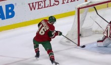 Goal of the Year?: Wild's Jared Spurgeon Scores Baseball-Style Hockey Goal (Video)