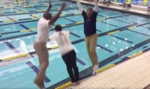 Jim Harbaugh Celebrates Snagging a 4-Star Recruit by Jumping in a Pool With Him (Video)