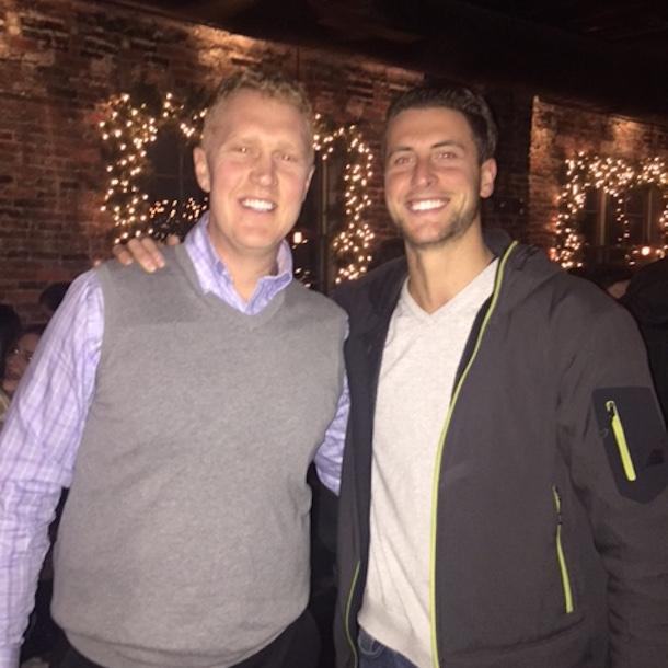 brian scalabrine arm wrestles for table at boston bar