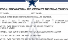 Dallas Cowboys Make Official Application For Bandwagon Fans To Fill Out