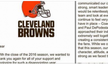 Cleveland Browns Send Apology Letter To Fans For Being a 'Factory of Sadness'