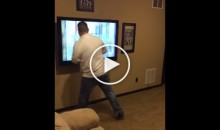 Alabama Fan Punches & Destroys His Own TV After Loss to Clemson Tigers (Video)