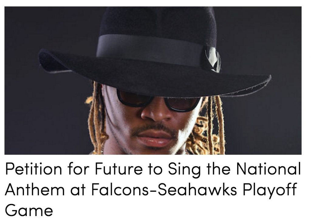 391f08811588 Falcons Fan Starts Petition To Have Future Sing Anthem Before Game Vs.  Seahawks