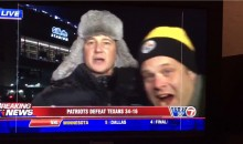 Pats-Steelers Rivalry Already in Full Swing as Pats Reporter Shoves Annoying Steelers Fan on Live TV (Video)