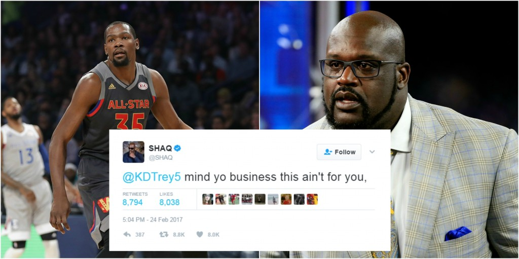 24ba3d66daee Shaq Tells Kevin Durant to Mind His Business  Proceeds To Threaten Javale  McGee Again