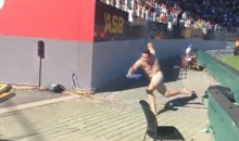 Cricket Streaker!: Naked Dude Runs Across Field, Trips Over Billboard and Gets Tackled (Video)