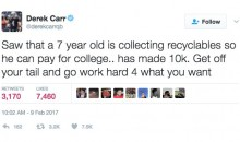 Derek Carr Ripped on Twitter For Tweet About Kid Saving For College By Recycling (TWEETS)