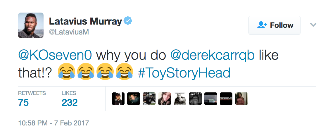 The tweet amused running back Latavius Murray who quickly looked for a photo to compare the QB as well:
