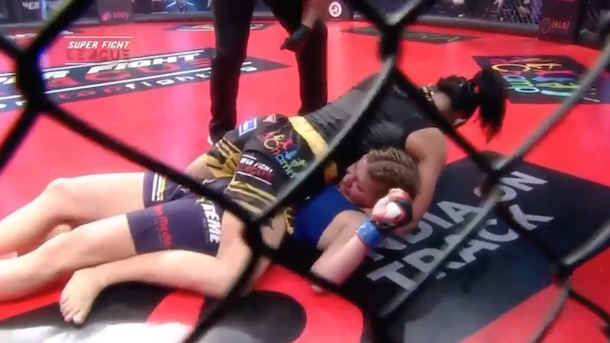 cornerman rushes in to save mma fighter ref asleep on job