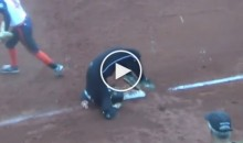 Female Softball Player Tries to Slide at 1B & Goes Full Scorpion (Video)