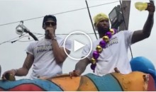 DeMarcus Cousins Wears Panties As Hat In Mardi Gras Parade With Anthony Davis (Video)