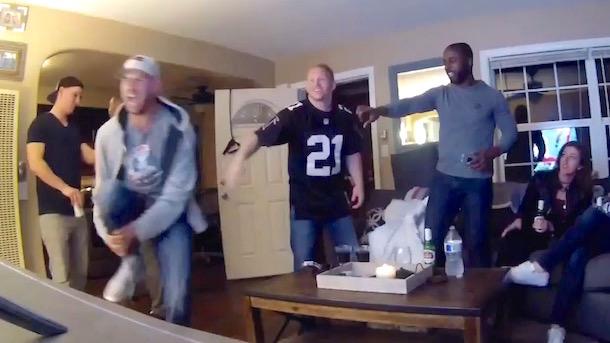 patriots fan breaks leg celebrating touchdown