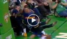 LeBron Nearly TRUCKED Bill Belichick in The 1st Row During Game vs. Celtics (Video)